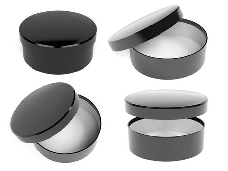 Round box. Open and closed black carton with lid. 3d rendering illustration Banco de Imagens