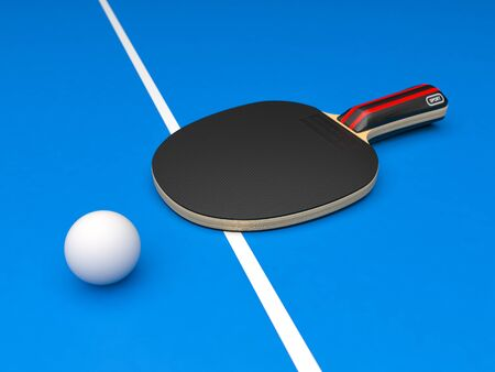 Black table tennis racket with ball. On blue background. 3d rendering illustration