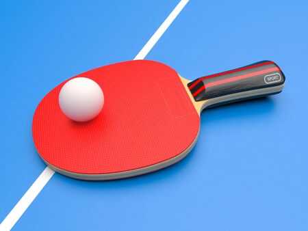 Red table tennis racket with ball. On blue background. 3d rendering illustration