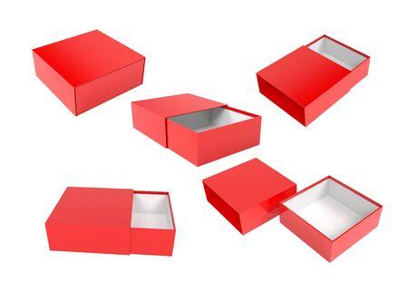Slider box. Red blank open box mock up. 3d rendering illustration isolated on white background Stok Fotoğraf