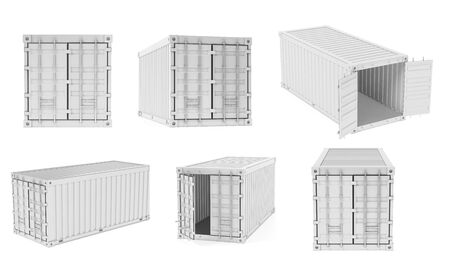 Shipping freight containers. White intermodal container set. 3d rendering illustration isolated on white background Stok Fotoğraf