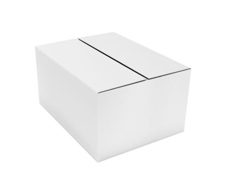 Closed white corrugated carton box. Big shipping packaging. 3d rendering illustration isolated on white background