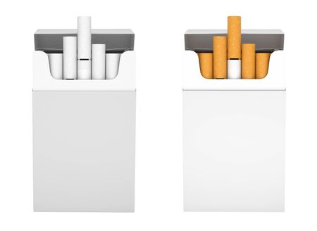 White packs of cigarettes. With white and brown filter. 3d rendering illustration isolated on white background Stok Fotoğraf - 133110024
