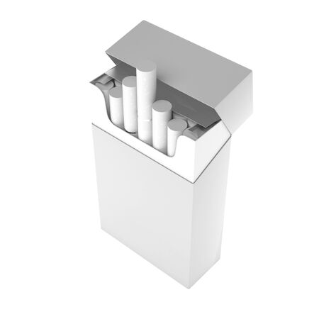 White pack of cigarettes. With white filter. 3d rendering illustration isolated on white background