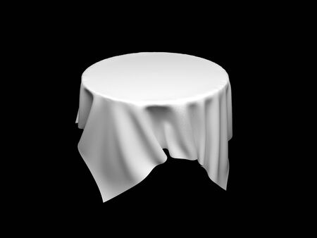 White tablecloth on invisible round table. On black background. 3d rendering illustration Stok Fotoğraf