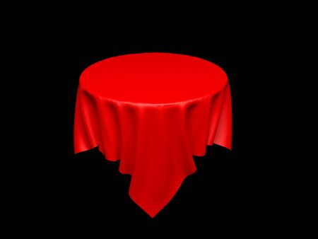 Red tablecloth on invisible round table. On black background. 3d rendering illustration Stok Fotoğraf
