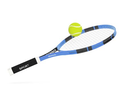 Tennis racket with yellow tennis ball. 3d rendering illustration isolated on white background Stok Fotoğraf