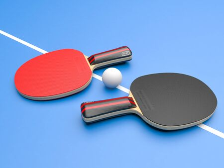 Red and black table tennis rackets with ball. On blue background. 3d rendering illustration