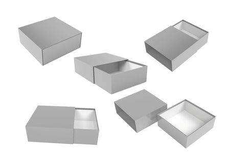 Slider box. Gray blank open box mock up. 3d rendering illustration isolated on white background Stok Fotoğraf