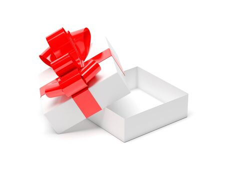 Gift box decorated with ribbon. Open empty container with red bow. 3d rendering illustration isolated on white background Stok Fotoğraf - 133112712