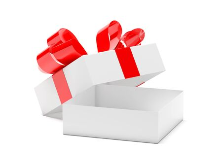 Gift box decorated with ribbon. Open empty container with red bow. 3d rendering illustration isolated on white background