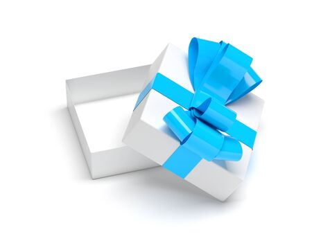 Gift box decorated with ribbon. Open empty container with blue bow. Male style. 3d rendering illustration isolated on white background Stok Fotoğraf - 133111852