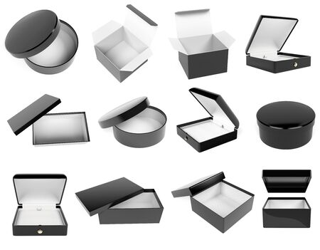 Black gift box set. Realistic carton mock up. Closed and empty. 3d rendering illustration isolated on white background