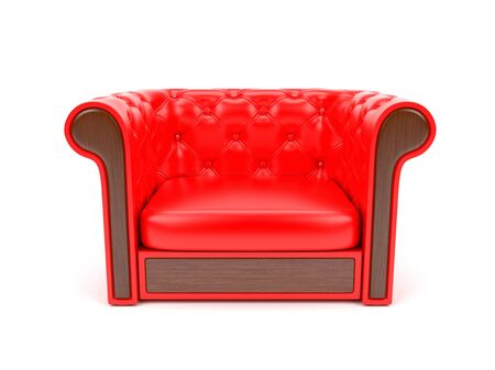 Red leather sofa. 3d rendering illustration isolated on white background Stok Fotoğraf - 133153758