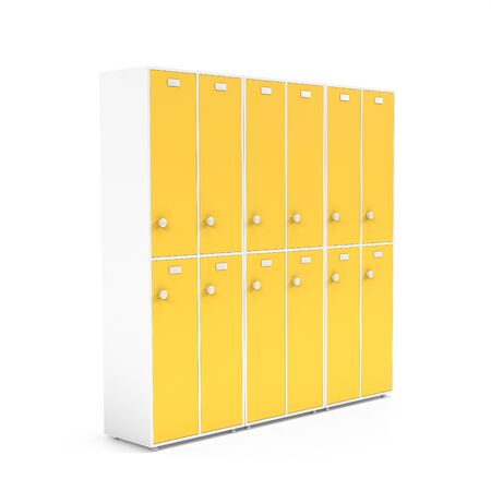 Yellow lockers with closed doors. Two row section of lockers for schoool or gym. 3d rendering illustration isolated on white background