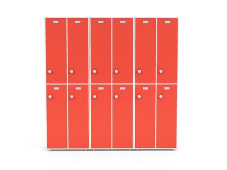 Red lockers with closed doors. Two row section of lockers for schoool or gym. 3d rendering illustration isolated on white background