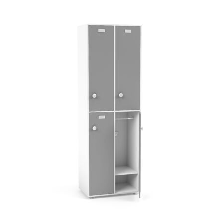 Gray lockers. High section of lockers for schoool or gym. 3d rendering illustration isolated on white background Stok Fotoğraf - 133111835