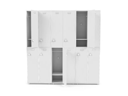 White lockers. Two row section of lockers for schoool or gym. 3d rendering illustration isolated on white background
