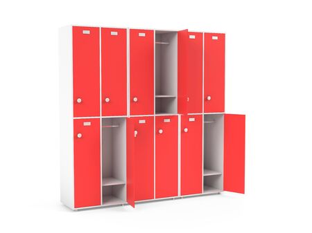 Red lockers. Two row section of lockers for schoool or gym. 3d rendering illustration isolated on white background Stok Fotoğraf