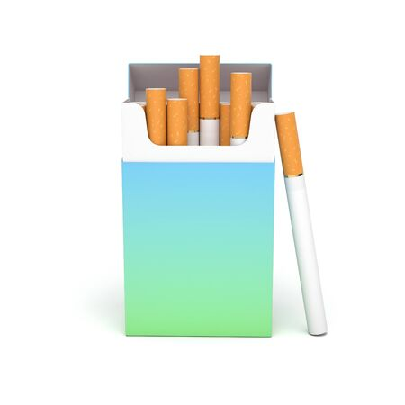 Open pack of cigarettes. Colored blank paper package. 3d rendering illustration isolated on white background Stok Fotoğraf - 133111694