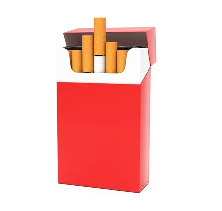 Red open pack of cigarettes. 3d rendering illustration isolated on white background Stok Fotoğraf - 133153760