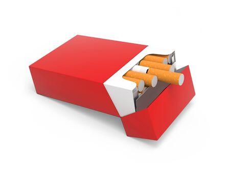 Red pack of cigarettes. 3d rendering illustration isolated on white background Stok Fotoğraf