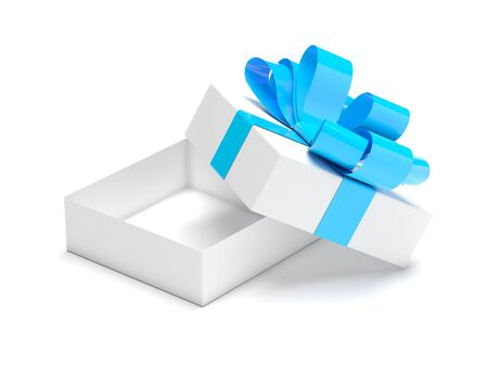 Gift box decorated with ribbon. Open empty container with blue bow. Male style. 3d rendering illustration isolated on white background Stok Fotoğraf - 133110443