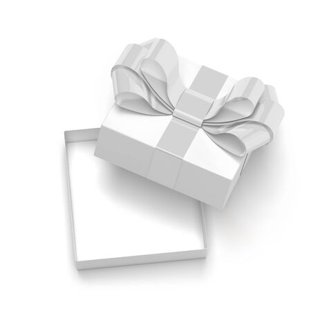 Gift box decorated with ribbon. Open empty container with white bow. 3d rendering illustration isolated on white background Stok Fotoğraf