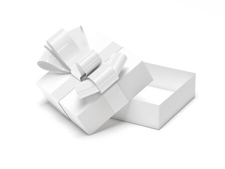 Gift box decorated with ribbon. Open empty container with white bow. 3d rendering illustration isolated on white background Stok Fotoğraf - 133111523