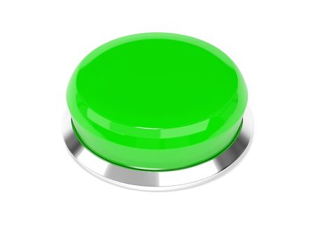 Green push button. 3d rendering illustration isolated on white background Stok Fotoğraf - 133110624