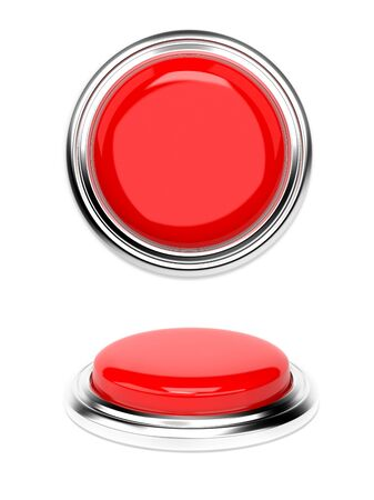 Red push buttons. 3d rendering illustration isolated on white background Stok Fotoğraf