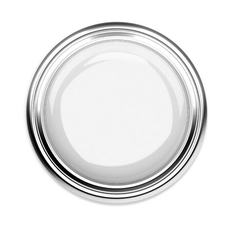 White push button. Alarm sign, top view. 3d rendering illustration isolated on white background