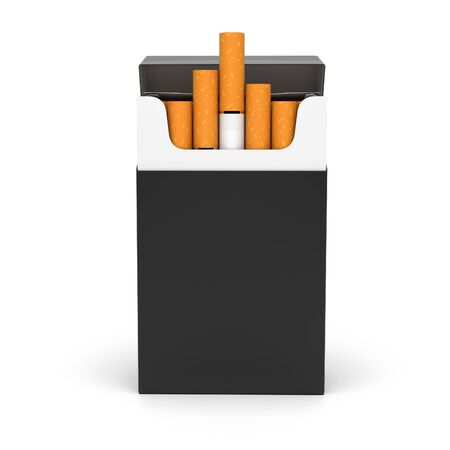 Black open pack of cigarettes. 3d rendering illustration isolated on white background