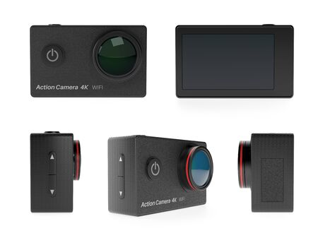 Action camera set. 3d rendering illustration isolated on white background