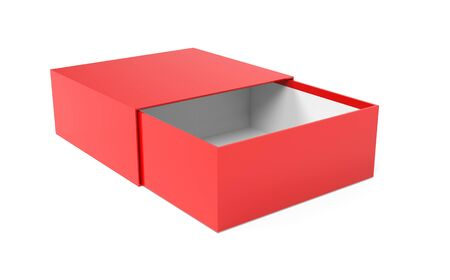 Slider box. Red blank open box mock up. 3d rendering illustration isolated on white background Stok Fotoğraf - 133111766