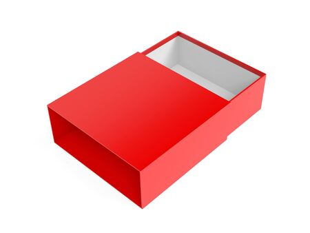 Slider box. Red blank open box mock up. 3d rendering illustration isolated on white background Stok Fotoğraf - 133112583