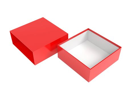 Open red box. Gift box mock up. 3d rendering illustration isolated on white background Stok Fotoğraf - 133111955