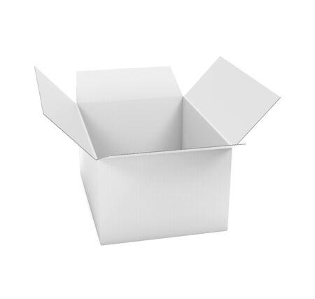 Open whitecorrugated carton box. Big shipping packaging. 3d rendering illustration isolated on white background Stok Fotoğraf