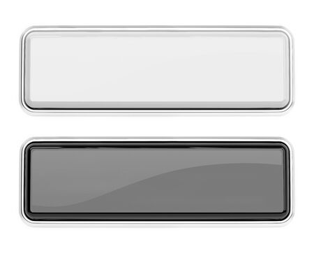 White and black glass buttons. Square push buttons with metal frame. 3d rendering illustration isolated on white background Stok Fotoğraf - 133112739