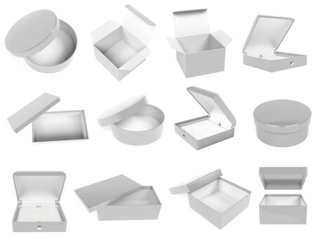 White gift box set. Realistic carton mock up. Closed and empty. 3d rendering illustration isolated on white background Stok Fotoğraf