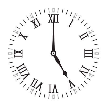 Uhrenskala mit römischen Ziffern. Fünf Uhr. Vektor-Illustration isoliert auf weißem Hintergrund Vektorgrafik