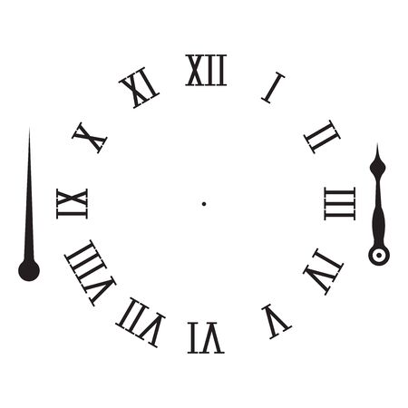 Clock elements. Hour and minute hand with roman numerals. Vector illustration isolated on white background