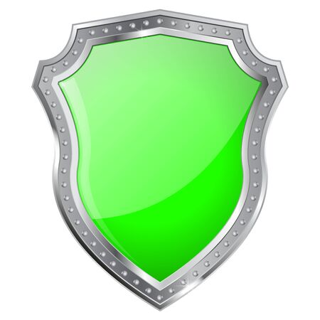 Metal Shield with green glass plate. Vector illustration isolated on white background. Illustration
