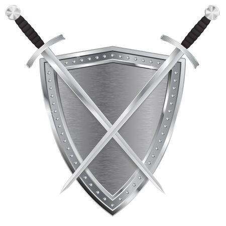 Metal Shield and swords. Vector illustration isolated on white background.