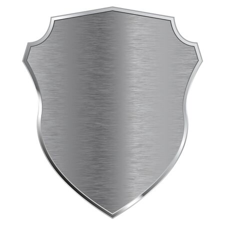 Metal shield. Vector illustration isolated on white background.