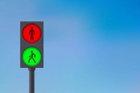 Voetgangers Verkeerslicht. Hemel achtergrond. Vector Illustratie