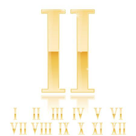 Roman numerals. Shiiny 3d golden signs