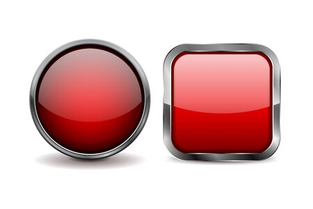 Red glass buttons. Round and square icons with chrome frame