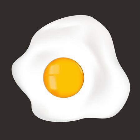 Fried egg. Sunny side up on black background Ilustração
