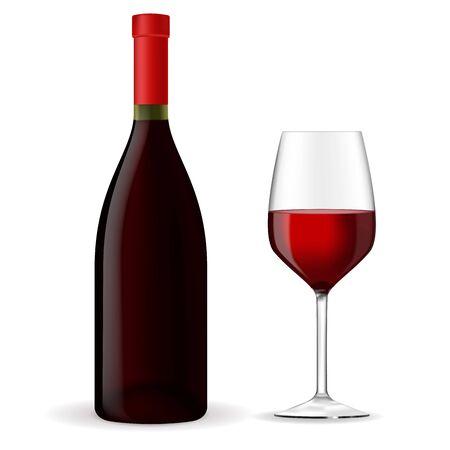 Vin rouge. Bouteille avec verre